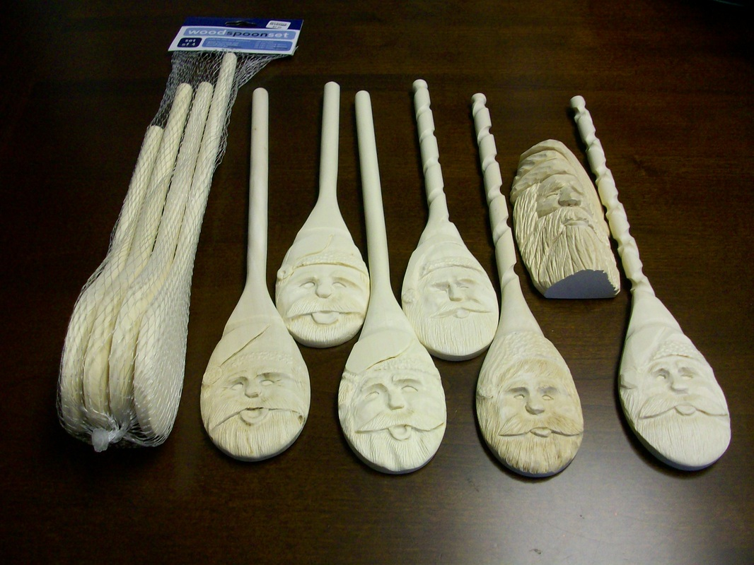 Spoon santas fine woodcarvings